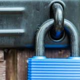 Secured. A macro shot of a padlock and hasp Stock Photo