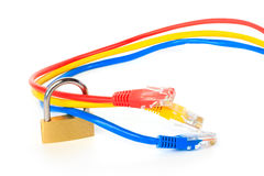Secured network cables with a padlock Royalty Free Stock Photo