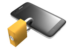 Secured phone 3d rendering Royalty Free Stock Photography