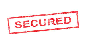 Secured in red rectangular stamp Stock Images