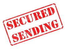 Secured Sending -  Red Rubber Stamp. Stock Images