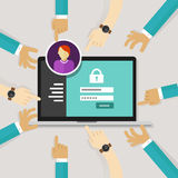 Securing access from authorize software authentication password login form system security stock illustration