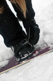 Securing bindings from snowboard. Securing binding from snowboard on snow Stock Photos