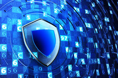 Securing, network firewall, computer data protection and information security concept. Shield defense on blue technology background with digital code Royalty Free Stock Image