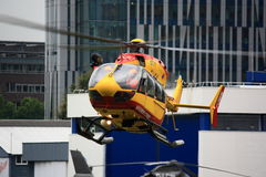 Securite Civile helicopter hovering Royalty Free Stock Photo
