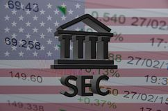 Securities and Exchange Commission. Building icon and text SEC, with the financial data visible in the background. 3D rendering royalty free illustration