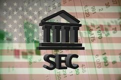 Securities and Exchange Commission. Building icon and text SEC, with the financial data visible in the background. 3D rendering vector illustration