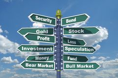 Securities Signpost Royalty Free Stock Photo