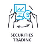 Securities trading thin line icon, sign, symbol, illustation, linear concept, vector. Securities trading thin line icon, sign, symbol, illustation, linear Royalty Free Stock Photo