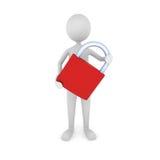 Security. Concept depicting 3D man holding padlock Stock Photo