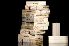 Security. Tower of wood blocks with legends about computer security,internet and network terms Stock Images