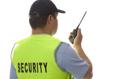 Security. Guard hand holding cb walkie-talkie radio Royalty Free Stock Photos