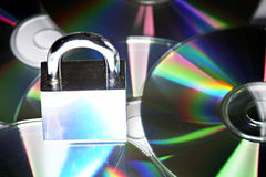Security. Concept data security with padlock on CD disc Stock Photo