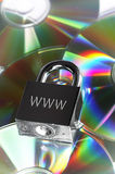 Security. Concept data security with padlock on CD disc Royalty Free Stock Photo