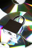 Security. Concept data security with padlock on CD disc Royalty Free Stock Photography