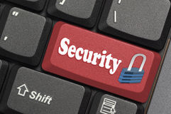 Security. Red key and locker on laptop Stock Image