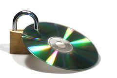 Security. A lock on a cd - thats really safe stock photos