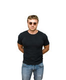 Security. Young man inl glasses on white Royalty Free Stock Photos