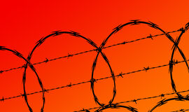 Security. Razor wire and barb wire fence against red / orange sky Stock Photo