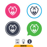 Security agency icon. Shield protection symbol. Royalty Free Stock Photography