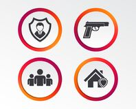 Security agency icons. Home shield protection. Security agency icons. Home shield protection symbols. Gun weapon sign. Group of people or Share. Infographic Stock Photos