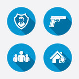 Security agency icons. Home shield protection Royalty Free Stock Image