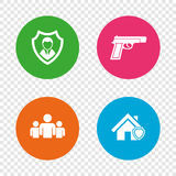 Security agency icons. Home shield protection. Security agency icons. Home shield protection symbols. Gun weapon sign. Group of people or Share. Round buttons Royalty Free Stock Images