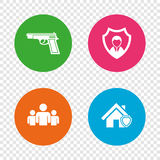 Security agency icons. Home shield protection. Security agency icons. Home shield protection symbols. Gun weapon sign. Group of people or Share. Round buttons Stock Photos