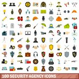 100 security agency icons set, flat style. 100 security agency icons set in flat style for any design vector illustration Stock Illustration