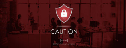 Security Alert Caution Beware Attention Sign Concept. People Discuss Security Alert Caution Beware Attention Sign Royalty Free Stock Images