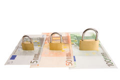 Security for all money. Money security concept - different banknotes with padlocks isolated on white Stock Images
