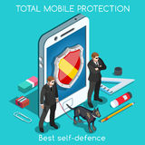Security App 01 Concept Isometric Royalty Free Stock Image
