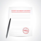 Security assignment agreement illustration. Design over white Stock Photography