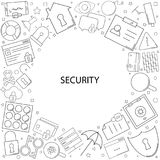 Security background from line icon. Linear  pattern Royalty Free Stock Images