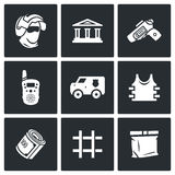 Security Bank and money transport icons set. Vector Illustration. Stock Photo