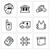 Security Bank and money transport icons set. Vector Illustration. Royalty Free Stock Photos