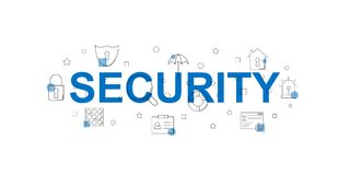 Security  banner. Word with line icon. Vector background Royalty Free Stock Photo