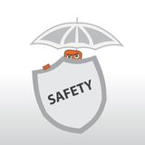 Security Behind a shield and under the umbrella Stock Photos