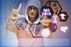 The security of big data concept with hacker. Security of big data concept with hacker Royalty Free Stock Photos