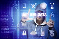 The security of big data concept with hacker. Security of big data concept with hacker Stock Image