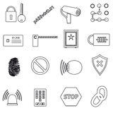 Security black simple outline icons set Royalty Free Stock Image