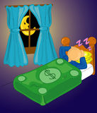Security blanket. Man sleeping with money as a security blanket royalty free illustration