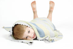 Security Blankets. Sweet little boy who is still attached to his blanket. A lesson in security and attachment Royalty Free Stock Photo