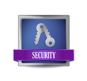 Security blue square button illustration Royalty Free Stock Images