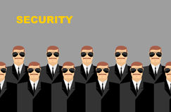 Security Bodyguard. Pattern of men in glasses.  Vector backgroun Stock Image
