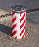 Security Bollard. Bollard mobile security for cars royalty free stock photos
