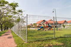 Security boundary fencing at a residential community Royalty Free Stock Photo