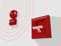 Security breach switch activated sounding an alarm. Red security breach alarm switch with pull down lever activated and a siren attached to a white wall emitting Royalty Free Stock Photos