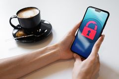 Security breach unlock padlock icon on mobile phone screen. Cyber protection concept. royalty free stock photography