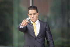 Security Businessman with a handgun Royalty Free Stock Photos